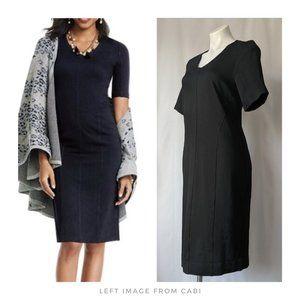 cabi ▪ black ponte classic claire sheath dress